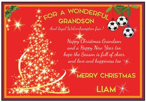 Personalised Wolverhampton Theme Christmas Card (2 Designs)
