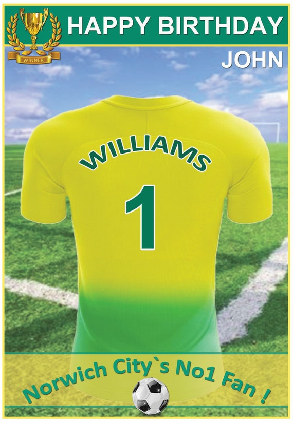 Personalised Norwich City Inspired Birthday Card (2 Designs) - 19-20