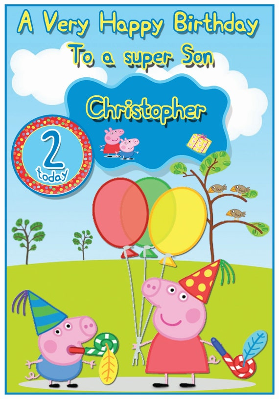 Personalised Peppa Pig Inspired Birthday Card Etsy