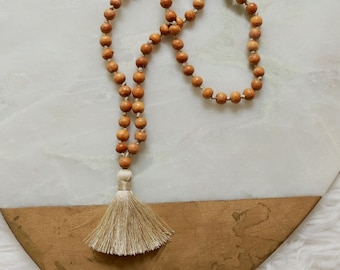 McKinley Mini Beaded Tassel Mala Necklace in Champagne