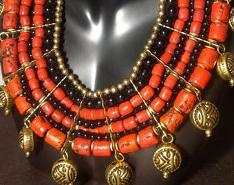 Red Coral Multi Strand Beaded Necklace
