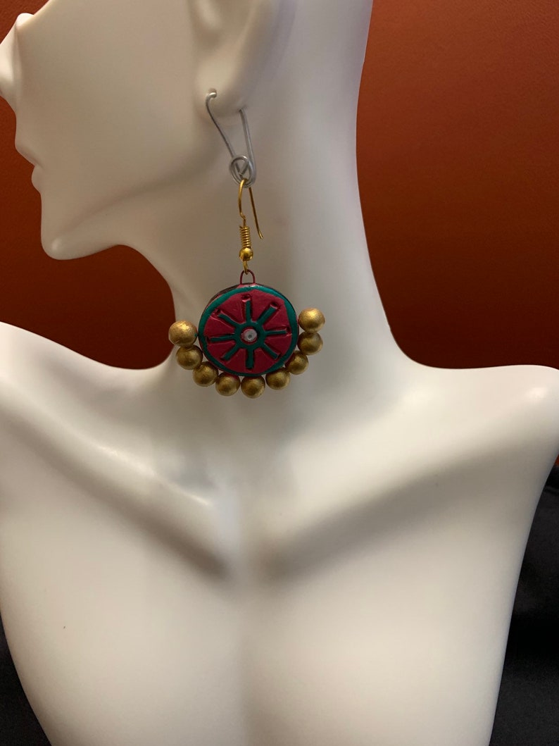 Terracota necklace in pink and sea green