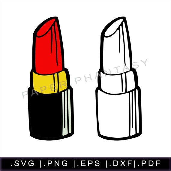Red Lipstick Outline Svg Makeup Lip Gloss Beauty Fashion Etsy