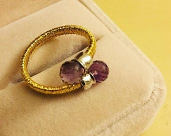 925 silver rings with 100% natural amethyst  #size 5.5-6.5