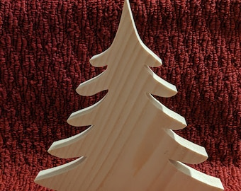 2.75 Inch 3D Natural Wooden Christmas Trees 5 Wood Trees