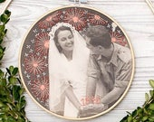 Modern Embroidery on vintage photo, personalized Anniversary gift, Custom Hand Embroidery Hoop Art, Wall Hanging, Custom Order