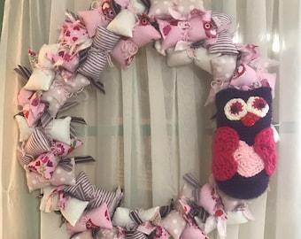 Owl Valentine Puff Pillow  Wreath
