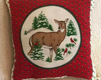 Snowy Day Pillow with deer and cardinals
