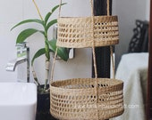 Seagrass Hanging fruit 3-tiers basket, planter, container, natural weave basket, Storage woven weaving basket in kitchen Decor Holder