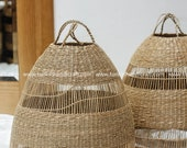 Round Seagrass Rattan lampshade light pendant,Handicraft,handmade shop display decoration rustic gift, housewarming gift,Home decoration