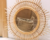 Light Brown Sunshine Rattan bamboo Round Mirror, handmade, Vintage natural Decor, Round Mirror Home Decoration Equipment Wall Hanging Mirror
