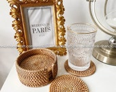 Set of 6 rattan coasters, Handmade Teacup Coasters Creative Gift for Kitchen Table Drinks Desk Office Hot for Drinks Round Natural Coasters