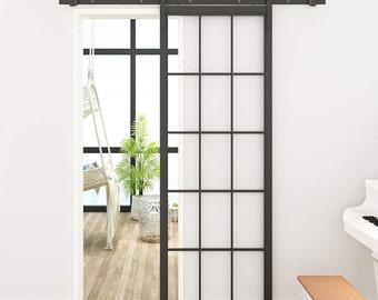 DIYHD 30 X 86.5 inch Black Steel Framed Glass Barn Door Slab Interior Clear Tempered Glass Sliding Barn Door Panel & Interior barn doors | Etsy