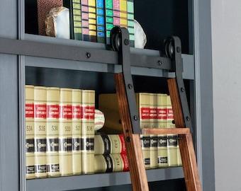 DIYHD Rustic Black Industrial Sliding Library Rolling Ladder HardwareNo