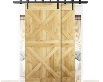 DIYHD 5FT 11FT Bypass Sliding Barn Wood Door Hardware Interior Sliding Door  Black Rustic Sliding Track Kit For Low Ceiling