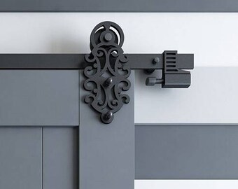 DIYHD Ornate Cut Black Iron Sliding Barn Door Hardware With Spring In Soft  Close Stop
