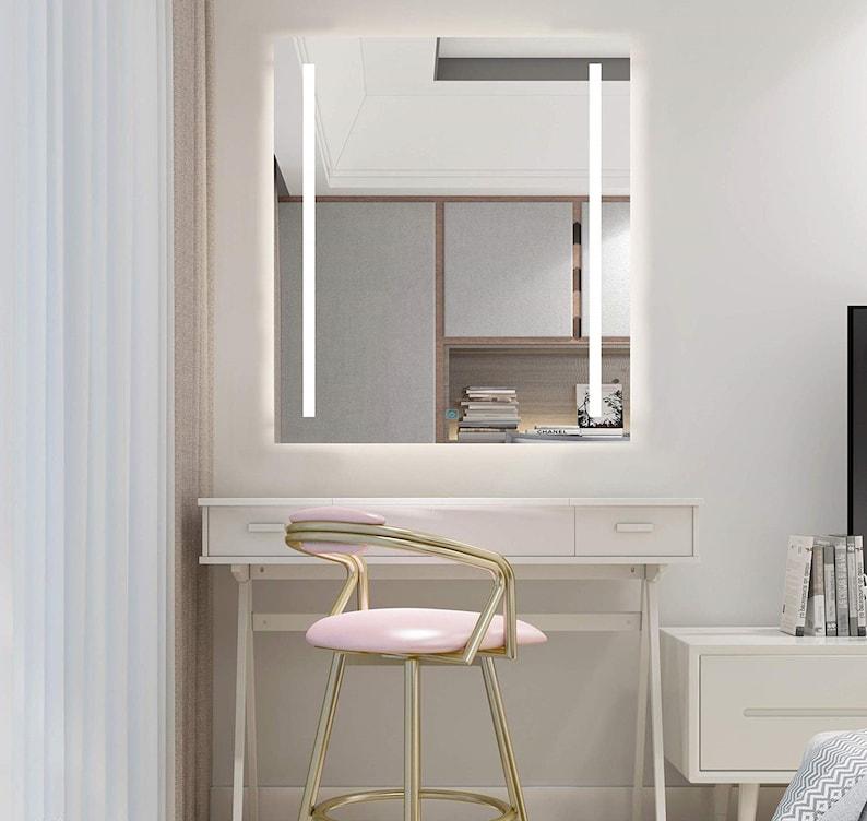 Marvelous Diyhd Wall Mount Led Lighted Bathroom Mirror Vanity Defogger 2 Vertical Lights Rectangular Touch Light Mirror Download Free Architecture Designs Scobabritishbridgeorg