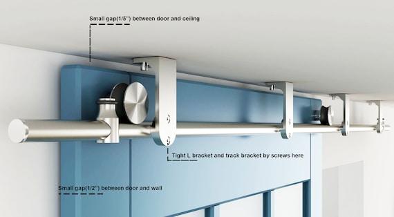 DIYHD Stainless Steel Ceiling Mount Flat Roller Sliding Barn Door Hardware