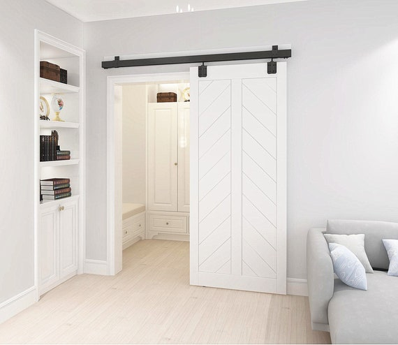 DIYHD Ceiling Mount Black Box Track Sliding Barn Door Hardware