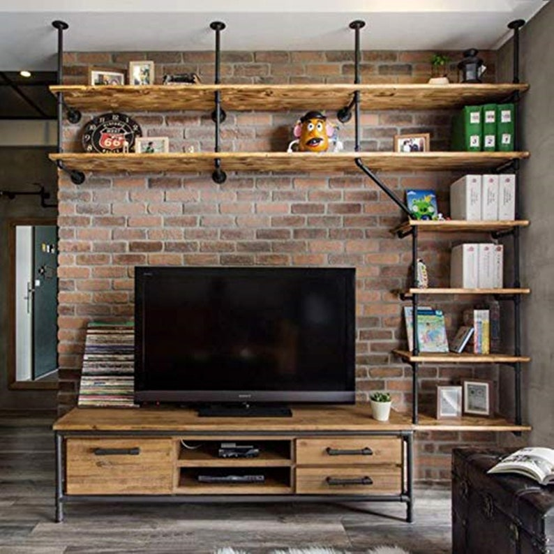 DIYHD Ceiling Wall Mount Pipe Shelf Bracket Black Iron TV Wall Pipe Shelving