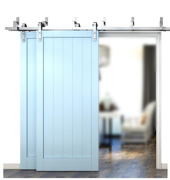DIYHD Brushed Nickel Steel Bypass Double Sliding Barn Door | Etsy
