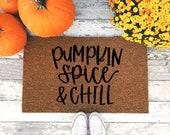 Pumpkin Spice & Chill Doormat - Funny Fall Welcome Mat - Halloween Home Decor - Pumpkin Spice Coffee Doormat - Autumn - Front Porch Door Rug