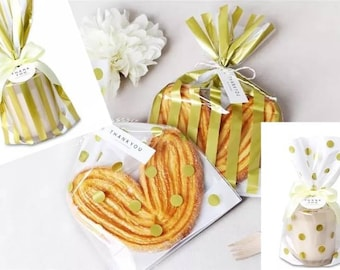 JParadise - 20/30/40 pcs Golden Striped Plastic Bag/ Golden Polka Dot Plasic Bag/ Gift Bag/ Mix Style Bags/ Bridal Shower/ Wedding