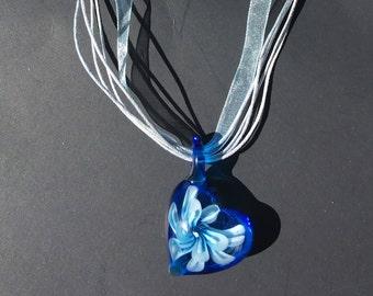 murano lampwork glass pendant heart