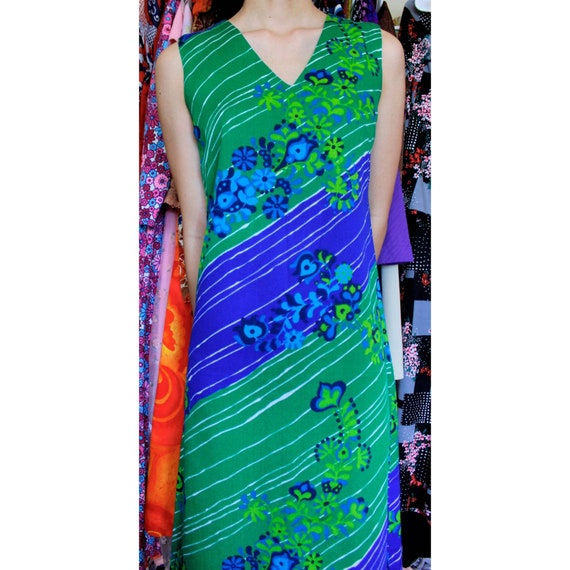1960s vintage psychedelic maxi dress
