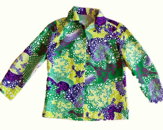 1960s vintage psychedelic button up long sleeve sh