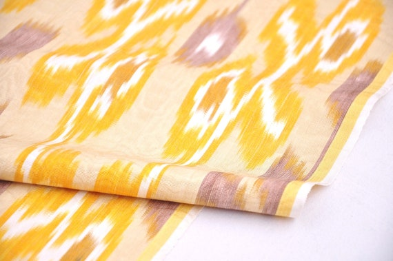 upholstery Yellow ikat fabric by the yard quilting sewing fabric clothing fabric handloom handwoven through pillow fabric.