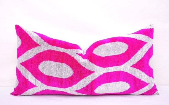 Accent decorative pillow Throw pillow Hot pink velvet ikat pillow Home decor pillow Velvet pillow case Handmade pillow Ikat cushion