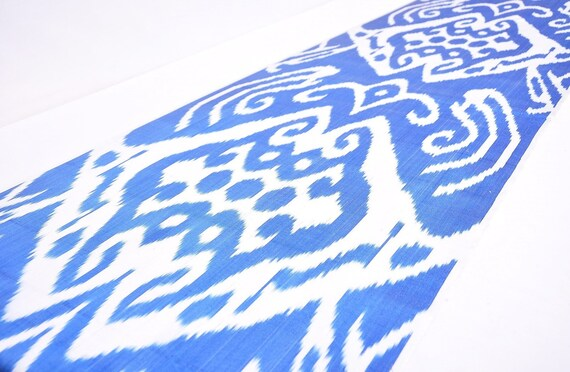 tissu ikat bleu 20 pouces par l'yard, tissu tissé d'ameublement ikat, tissu tissé tissu à la main, tissage à la main, tissu en soie ikat, couture tissu ikat, ikat 8567ba