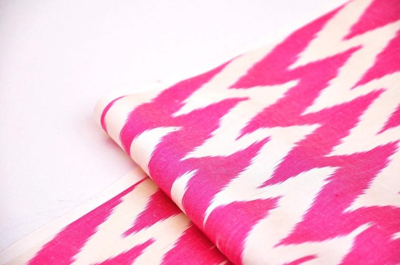 hand woven fabric handloom clothing ikat fabric silk ikat fabric sewing fabric Hot pink chevron ikat fabric by the yard upholstery