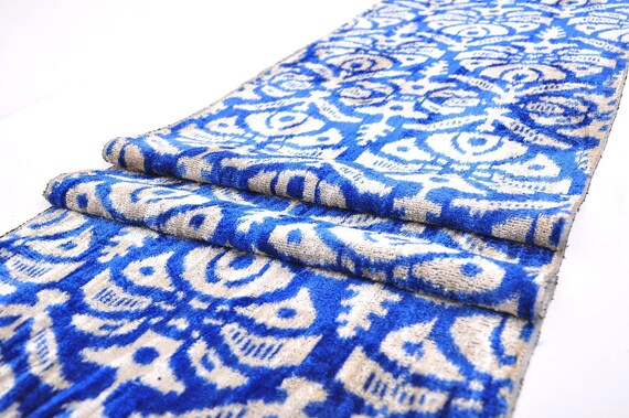 Mulberry Silk Fabric Blue Velvet Fabric Velvet Ikat Fabric Etsy