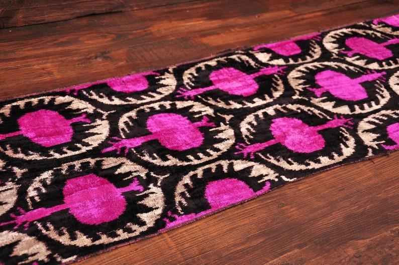 Pink Velvet Fabric Silk Ikat Fabric Velvet Designer Fabric Velvet Upholstery Fabric Velvet Ikat Fabric Pomegranate Design Velvet Fabric