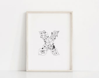 "Hand Drawn Floral Print ""Letter X"""