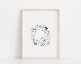 "Hand Drawn Floral Print ""Letter Q"""