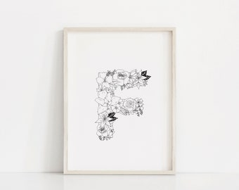"Hand Drawn Floral Print ""Letter F"""