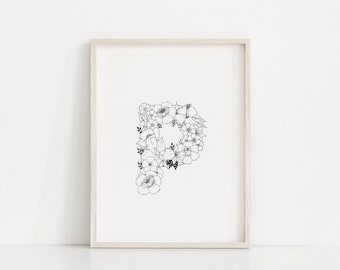 """Hand Drawn Floral Print """"Letter P"""""""
