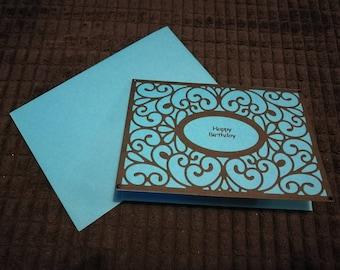 Blue and black filigree birthday card