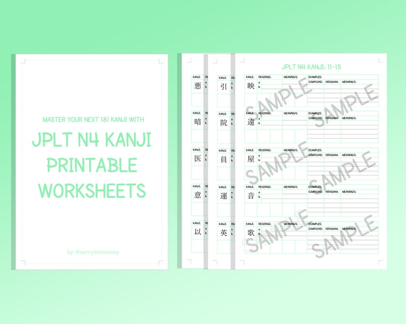 JLPT N4 Kanji Printable Worksheets