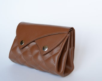 Leather Quilted Wallet | Leather Makeup Bag