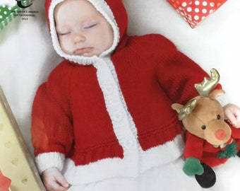 838f117a1 Baby Santa Clothes DK Knitting Pattern 2 Jacket Options & Hat Xmas Knits  Baby First Christmas King Cole 3803