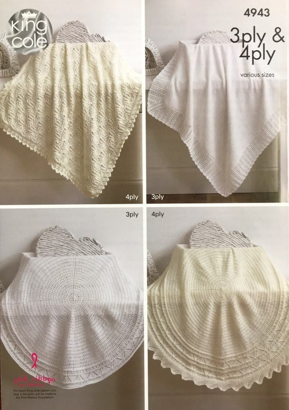 King Cole Baby 3Ply /& 4Ply Knitting Pattern Square /& Circular Lacy Shawls 4943