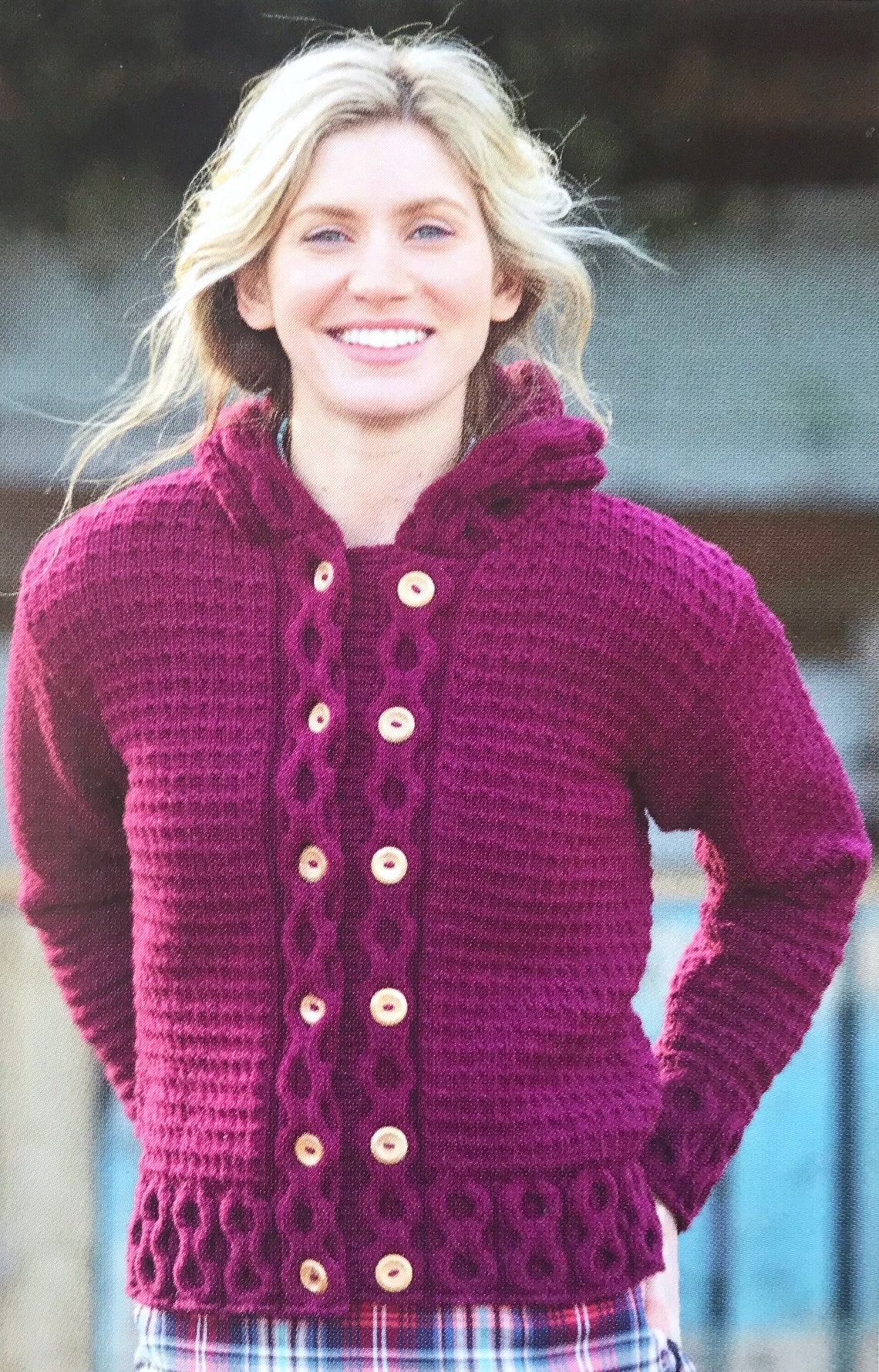 Aran Jacke stricken Muster Doppel-Brust größere Größen | Etsy