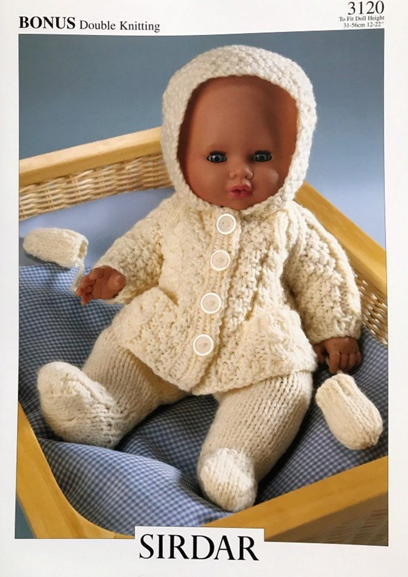 TO FIT 40CM DOLL KING COLE 4000 DOLLS CLOTHES ORIGINAL KNITTING PATTERN DK