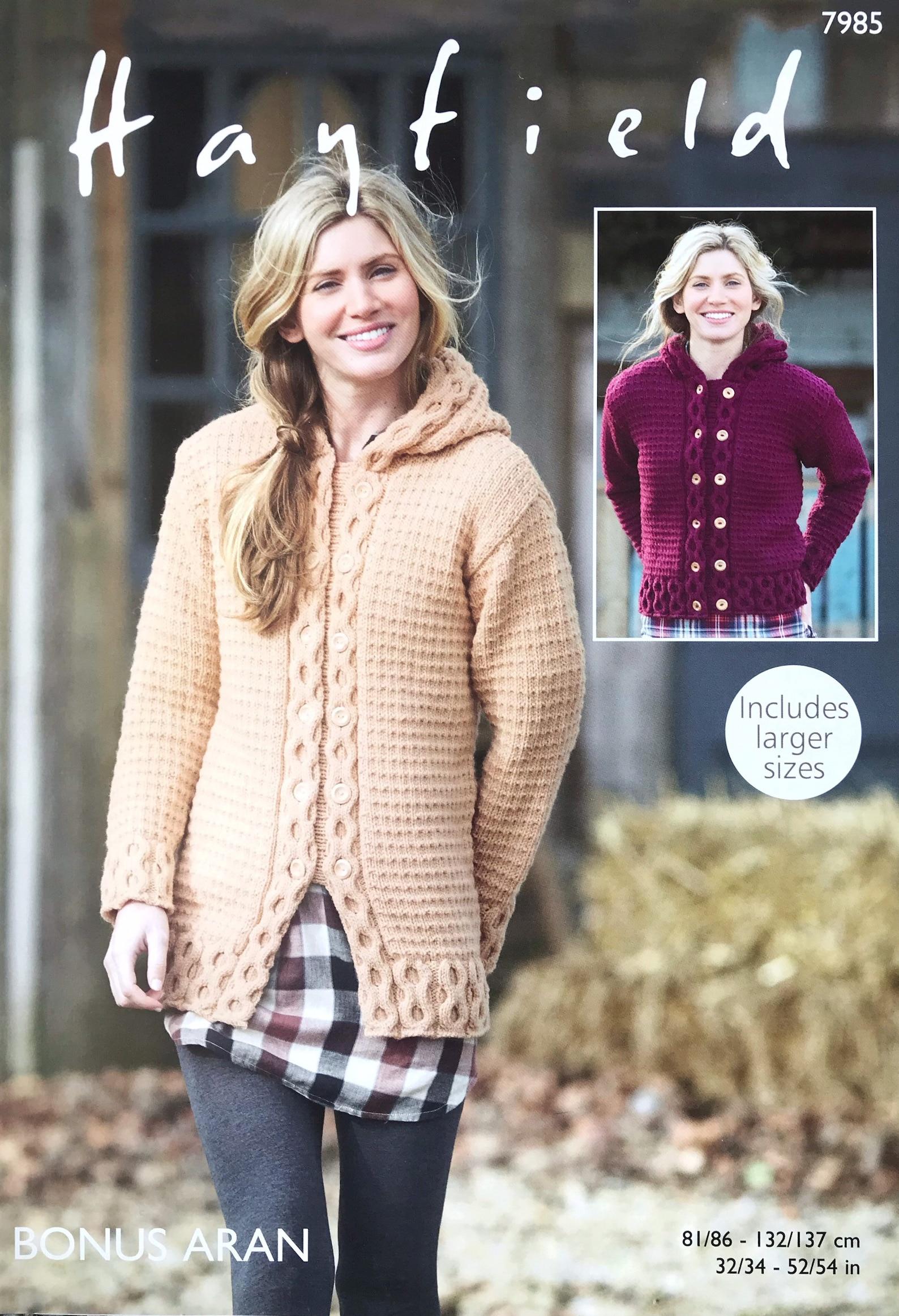 Aran Jacke stricken Muster Doppel-Brust größere Größen   Etsy