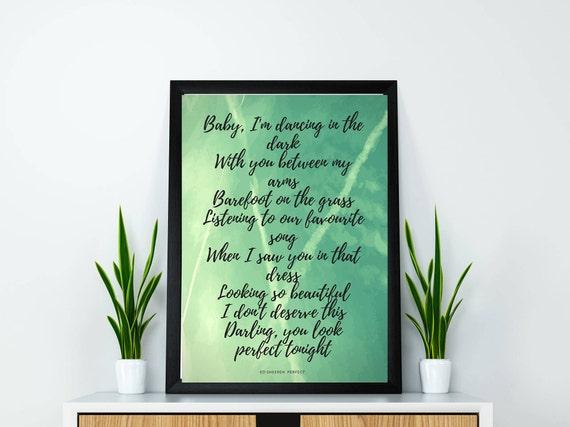 Song Lyrics Wall Art Ed Sheeran Perfect Ed Sheeran Lyrics | Etsy