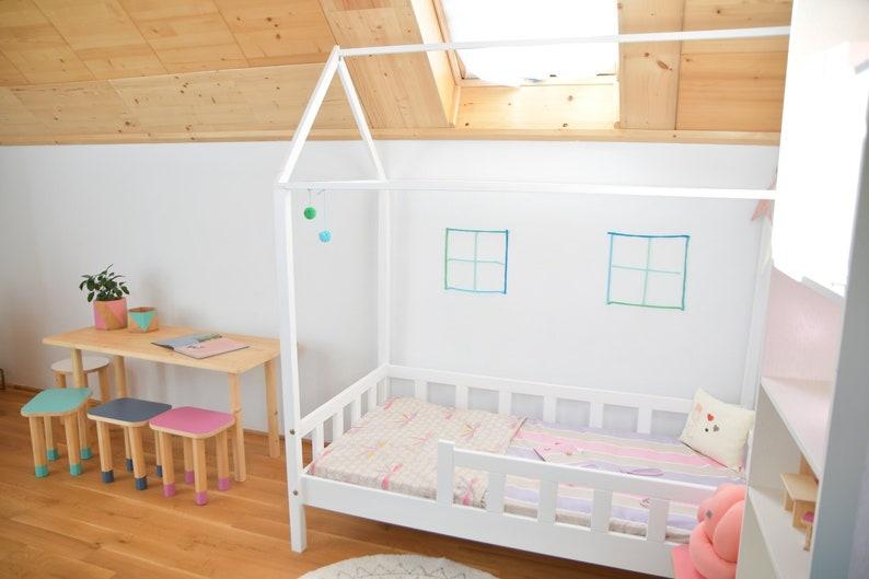 Letto Per Bambini Montessori : Letto a casa montessori house bed con barrierrs letto per etsy